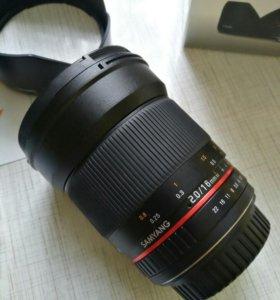 Объектив для CANON: Samyang 16 mm F2.0