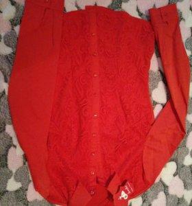 Новая Красивая красная рубашка 44р.
