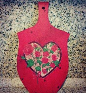 """Доска разделочная """"Цветущее сердце"""""""
