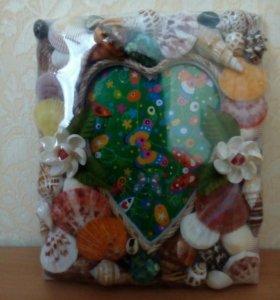 Рамка для фото ракушки и сердце новая, 23х20 см.