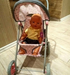 Коляска для куклы прогулочная с сумкой