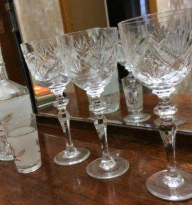 Хрусталь 6 винных бокалов, графин и 7 стопок