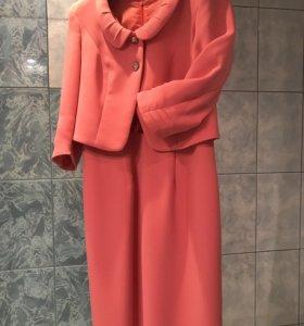 Платье-костюм коралловый