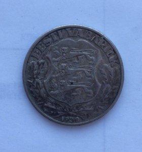 2 кроны Эстония 1930. Серебро. Замок Тоомпеа