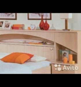 Кровать с изголовьем и шкафчиками