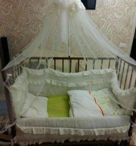 кроватка детская + бортики+матрас+навес