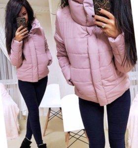 Куртка розовая чёрная женская