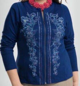 Синий женский жакет с цветами