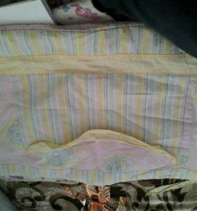 Бортики на кроватку розовые