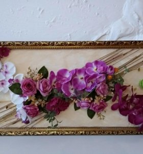 """Картина объемная """"Орхидеи и розы"""""""