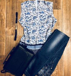 Блузка джинсы сумка