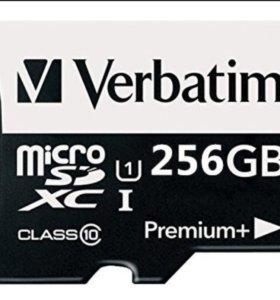 Карта памяти Verbatim 256 гб, класс 10, новая.