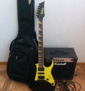 Электро гитара Ibanez + усилитель Marshall + чехол