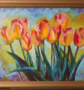 Картина Облако тюльпанов. Холст, акрил, 50×35 см