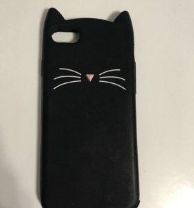 Чехол котик-чёрный на IPhone 7