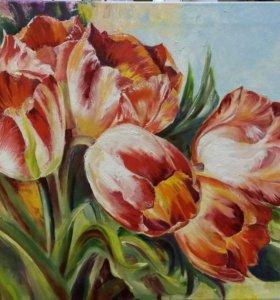 Любимые тюльпаны. Холст, масло, 50×70 см