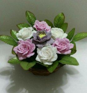 Корзина роз.Ароматное мыло ручной работы