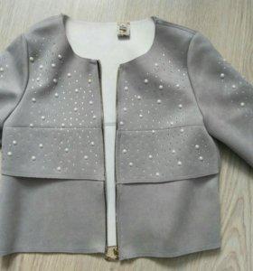 Замшевый пиджак- кардиган