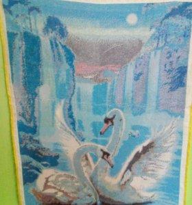картина из бисера лебеди
