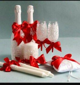 Оформление праздничных бутылок и бокалов