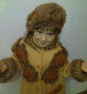 """Вязаное пальто """"Листопад"""" для девочки 7-9 лет"""