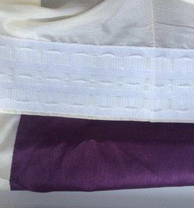 Штора с фиолетовой вышивкой
