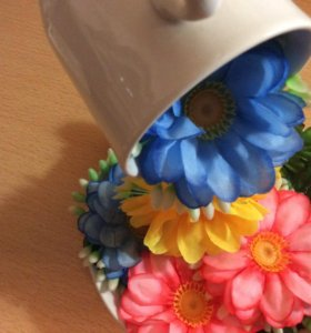 Хэндмейд парящая кружка цветы