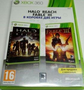 игры для xbox 360 в комплекте Fable 3 и Halo Reah