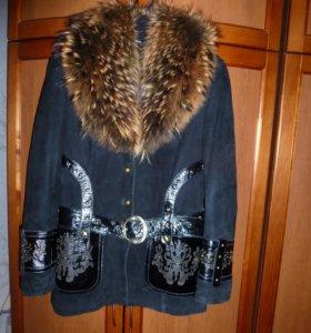 Замшевая куртка с натуральным мехом на подстежке