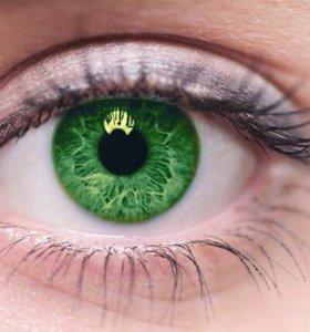 Линзы зелёные нулевые