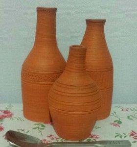 Декоративные бутылки из глины