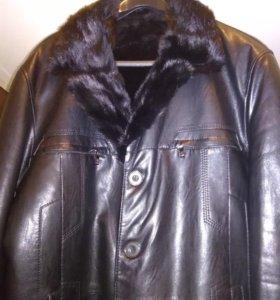 Кожаная зимняя куртка с норковым воротником
