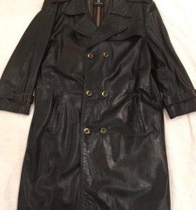 Кожаное пальто XXL