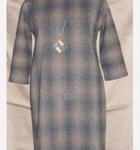Платье 100% шерсть в клетку ручная работа