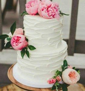 Торт живыми цветами