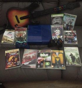 X-box 360 + гитара, два геймпада и 10 дисков игр