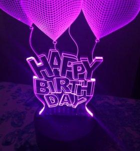 3D лампа с сенсорным датчиком на день рождение!
