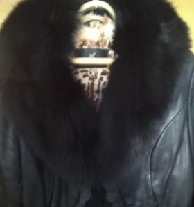 Зимняя кожаная куртка 44-46 р
