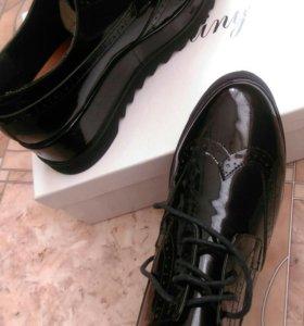 Натур.лаковые ботинки.