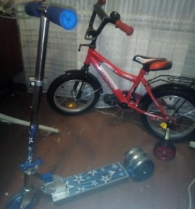 Продам детский велосипед и самокат.