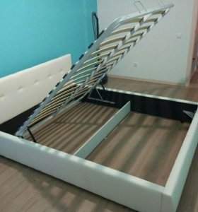 Белая кровать экокожа с подъемным механизмом
