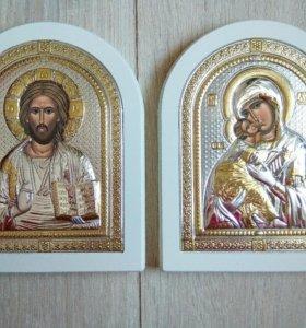 Пара икон Иисус Христос и Владимирская икона