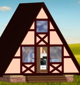 Дом шалаш, треугольный дом
