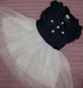 Платье джинсовое с фатиновым низом.