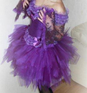 Платье женское на корсете с юбкой-пачкой пышной