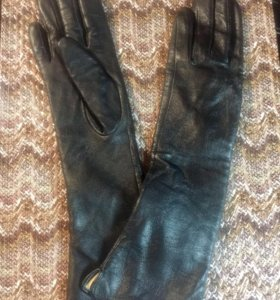 Перчатки удлинённые из натуральной кожи