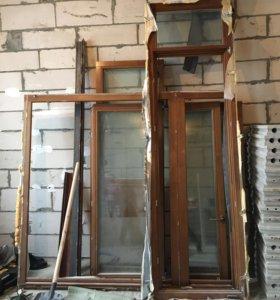 Деревянное окно с трехкамерным стеклопакетом+дверь