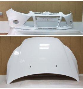 Передний бампер белый Ford Focus 3