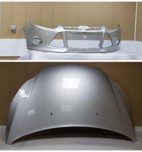 Передний бампер серебристый Ford Focus 3
