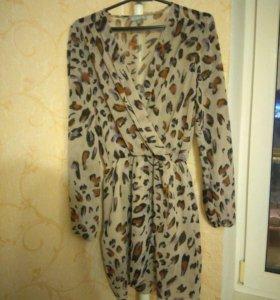 Платье леопардовое с ASOS серое